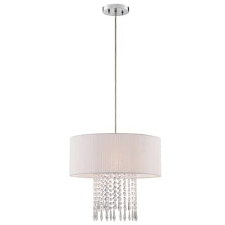 Illuminada Fabric Pendant with Voile Pleated White Fabric Shade and Crystal Beads