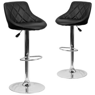 Black Vinyl Bucket Seat Adjustable Bar Stool with Chrome Base (Set of 2)