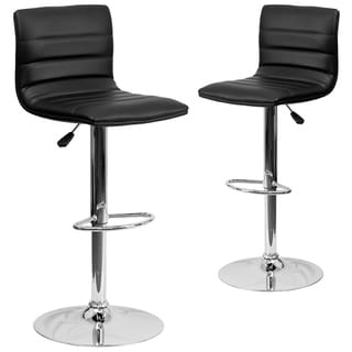 Black Vinyl Adjustable Bar Stool with Chrome Base (Set of 2)