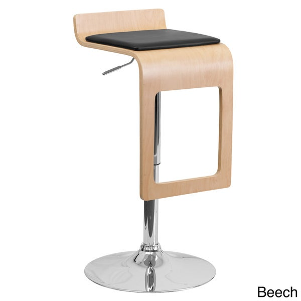 Beech Bentwood Adjustable Bar Stool with Black Vinyl Seat and Drop Frame (Set of 2)