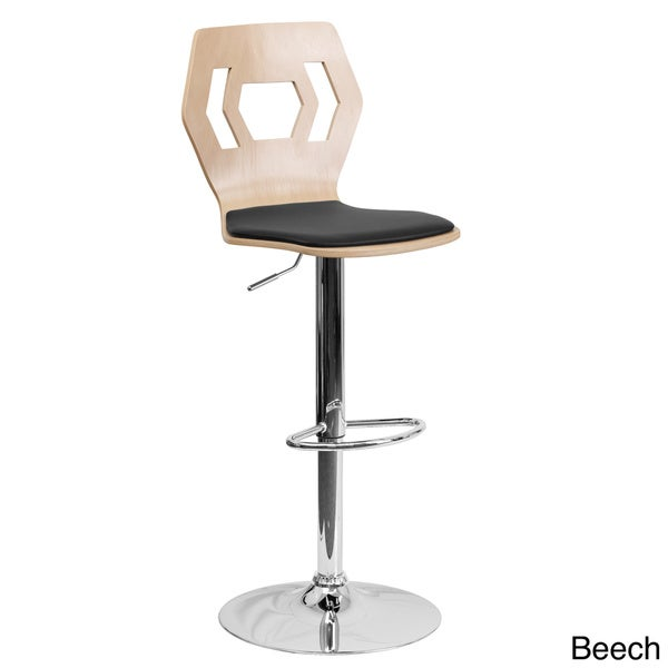 Beech Bentwood Adjustable Bar Stool with Black Vinyl Seat and Cutout Back (Set of 2)