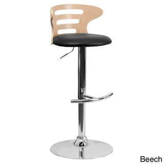 Beech Bentwood Adjustable Bar Stool with Black Vinyl Seat and Cutout Back