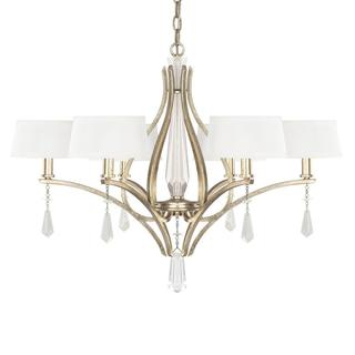 Margo 6-light Dual Chandelier in Winter Gold with White Fabric shades