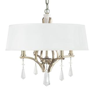 Margo 4-light Dual Mount Pendant in Winter Gold with Fabric shade