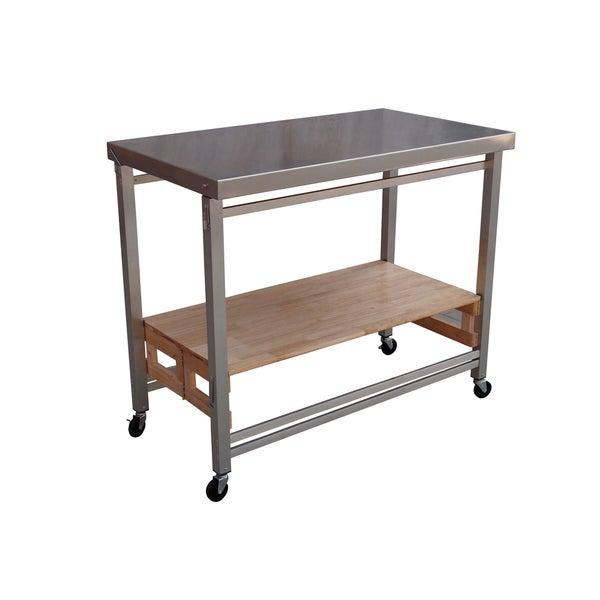 Large stainless steel folding kitchen island 16565995 overstock