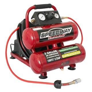 Speedway 2-gallon Twin Stack Auto Rewind Hose Compressor