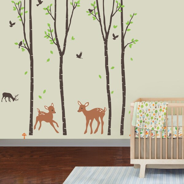 Giant Tranquil Birch Forest and Deer Peel-and-Stick Nursery Wall Decal