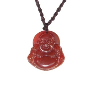 Hand-carved Red Agate Happy Buddha Necklace (China)