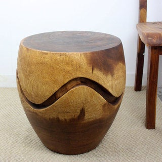 Hand-carved 18 x 18 Walnut Oiled 'Monkey Pod' Wood Barrel Puzzle End Table (Thailand)