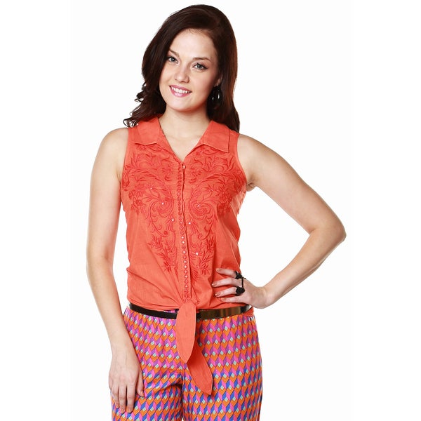 Global Desi Women's Boho Floral Embroidered Tie-up Top 13839076