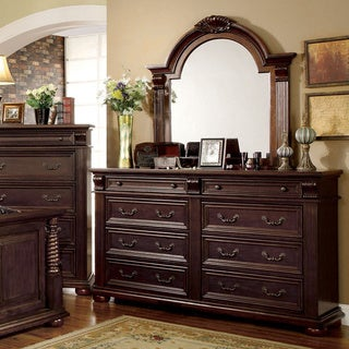 Furniture of America Angelica English Style Brown Cherry 2-Piece Dresser and Mirror Set
