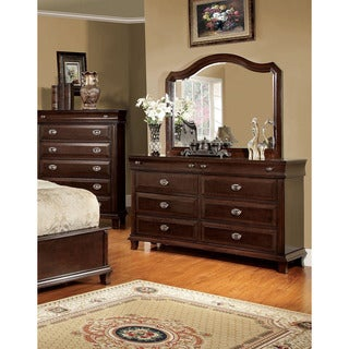 Furniture of America Jayden Crown Brown Cherry 2-Piece Dresser and Mirror Set
