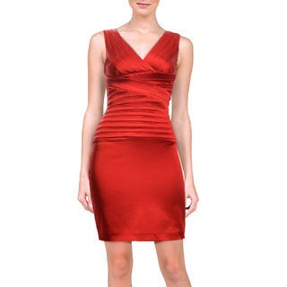 Calvin Klein Women's Red Satin Pleated Stretch Cocktail Dress