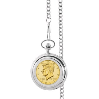 American Coin Treasures Gold-Layered JFK Half Dollar Pocket Watch