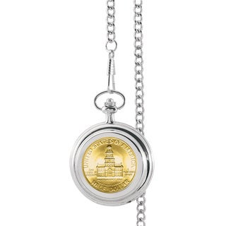 American Coin Treasures Gold-Plated JFK Bicentennial Half Dollar Pocket Watch