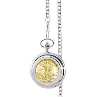 American Coin Treasures Gold-Layered Silver Walking Liberty Half Dollar Pocket Watch