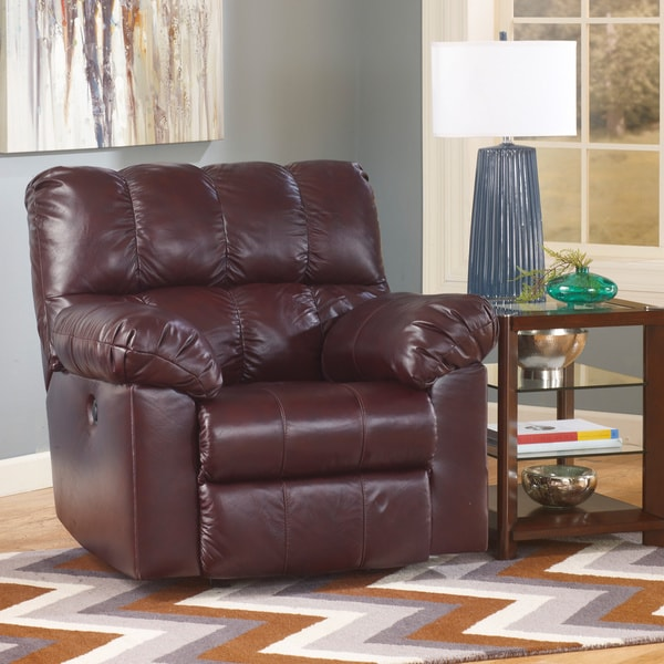 Signature Designs by Ashley Kennard Burgundy Leather Power Rocker Recliner