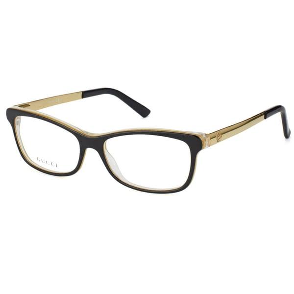 Glasses Frames Black And Gold : Gucci Unisex Black/ Gold Embossed Plastic Eyeglasses ...