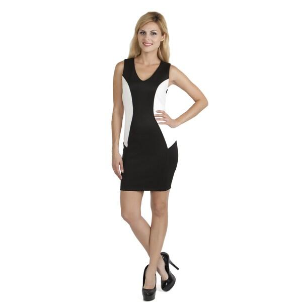 Stanzino Women's Black/ White Bodycon Cocktail Dress