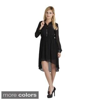 Stanzino Women's High-low Long Sleeve Shirt Dress