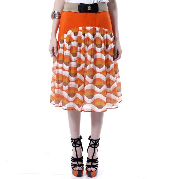 Mosse Women's Orange Contrast-print Mid-length Skirt