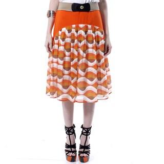 Mossée Women's Orange Contrast-print Mid-length Skirt
