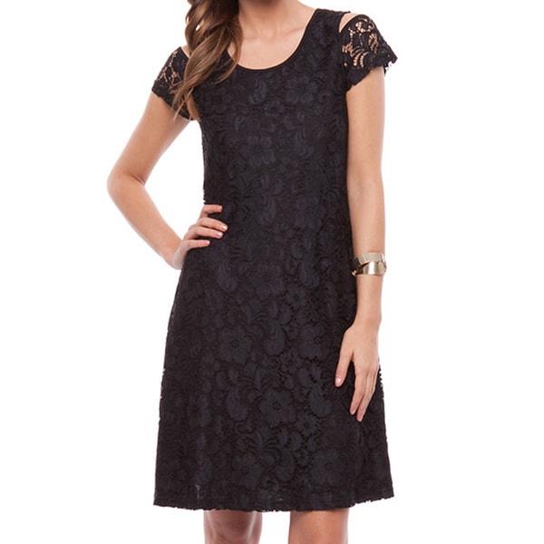 Mossee Women's Black Cut-out Lace Dress