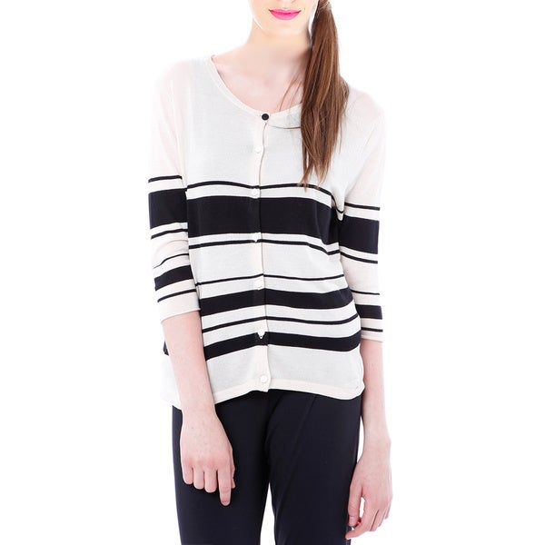 Mossee Women's Off-white Defined Stripe Cardigan