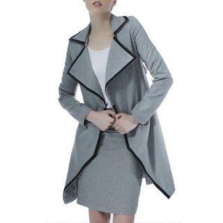 Mossee Women's Grey Colorblocked Wide-collar Jacket