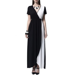 Mossee Women's Black and White Colorblocked Wrap-over Maxi Dress