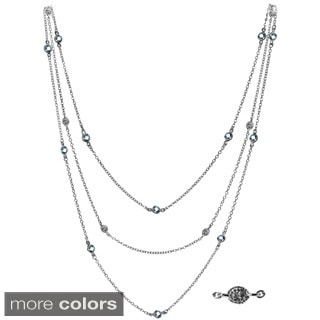 Sterling Silver Triple Strand Diamond Accent and Semi Precious Stones Necklace