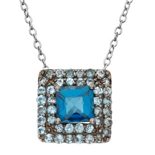 Sterling Silver Black Rhodium-plated London Swiss Blue TopazSquare Pendant Necklace