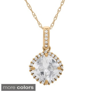10k Gold 8mm Cushion Pave Created White Sapphire Pendant