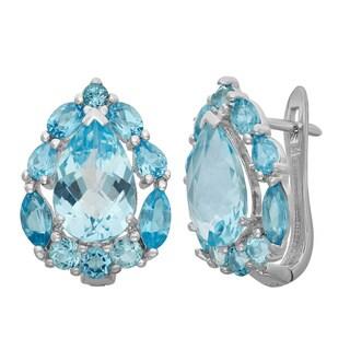 Gioelli Sterling Silver Teardrop Blue Topaz Designer Latch Back Earrings