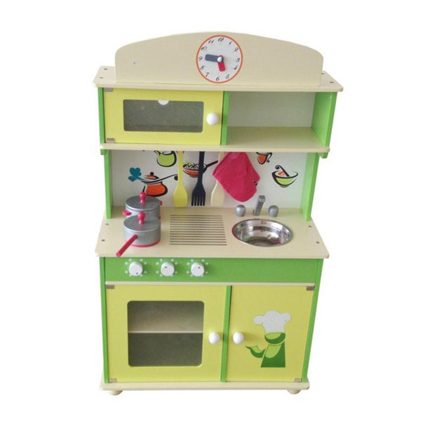 My Cute Green Wooden Kid's Play Kitchen - 16566417 - Overstock.com Shopping - Big Discounts on ...