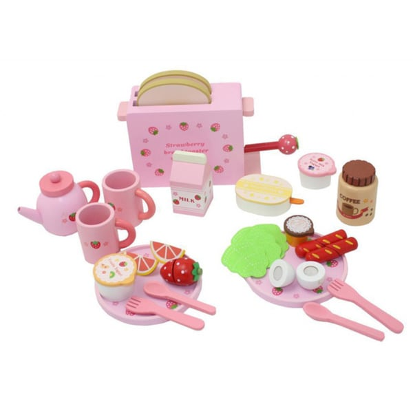Merske Complete Healthy Breakfast Wooden Play Food Set