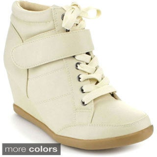Forever Women's 'Peggy-61' Lace-up Wedge Sneakers