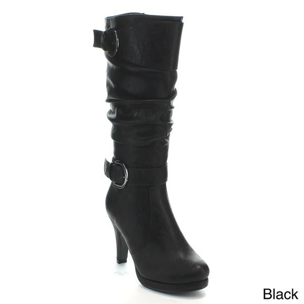 Forever Women's 'Lotus-28' Buckled High Heel Knee-high Boots