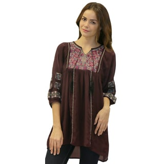 Caite Women's Purple Embroidered Cupra Rayon Tunic