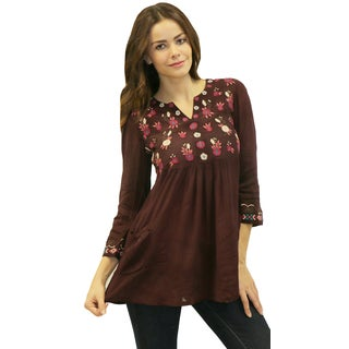 Caite Women's 'Mitzi' Oxblood Floral Embroidered Tunic