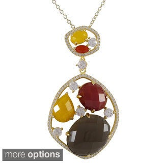 Gold over Sterling Silver Multi-gemstone Pendant Necklace