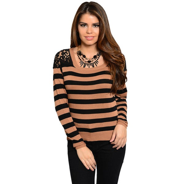 Shop The Trends Women's Brown and Black Striped Lace-yoke Top