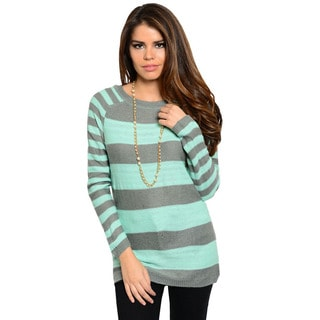Feellib Women's Grey and Mint Striped Sweater