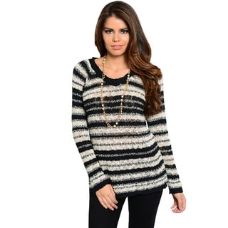 Feellib Women's Black and White Striped Fuzzy-knit Sweater
