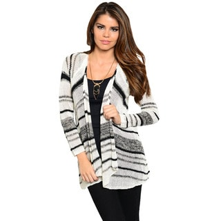 Feellib Women's White and Grey Striped Knit Cardigan