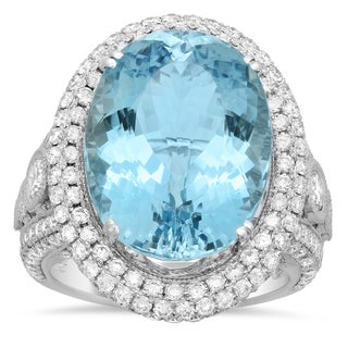 18k White Gold 2 2/5ct TDW White Diamond and 12 2/5ct Oval-cut Aquamarine Ring (E-F, VS1-VS2)