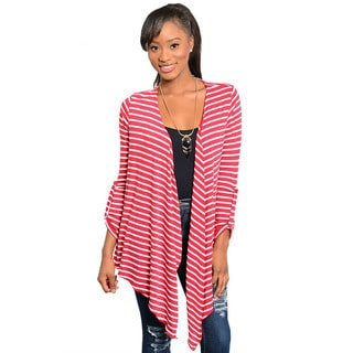 Feellib Women's Red and White Pointed-hem Open Cardigan