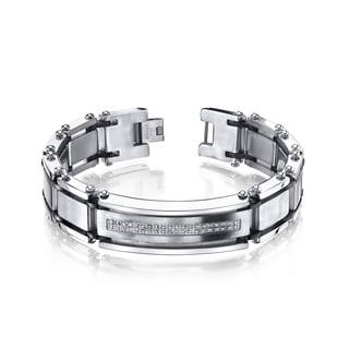Men's Stainless Steel Diamond Accent Bracelet