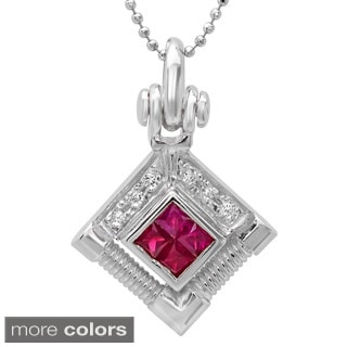 14k Gold 1/10ct TDW Round-cut White Diamond and Ruby Pendant Necklace (G-H, SI1-SI2)