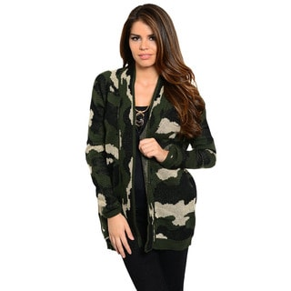 Feellib Women's Camo Pattern Open-front Sweater